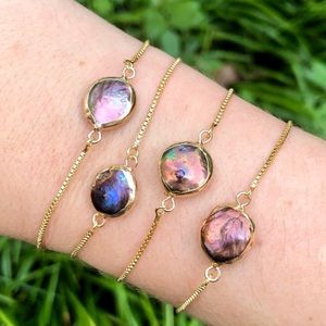 Natural peacock pearl 14K gold dainty bracelet